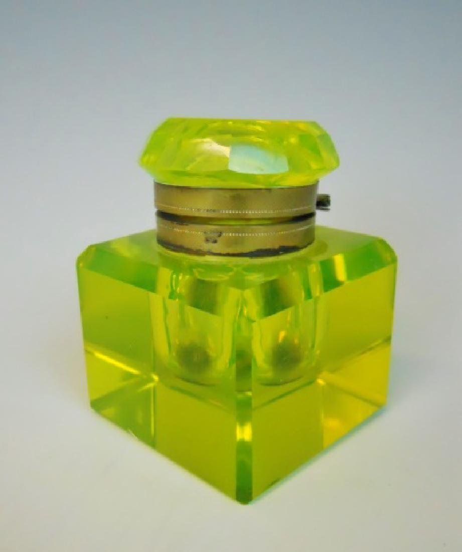 Antique Vaseline Glass Inkwell