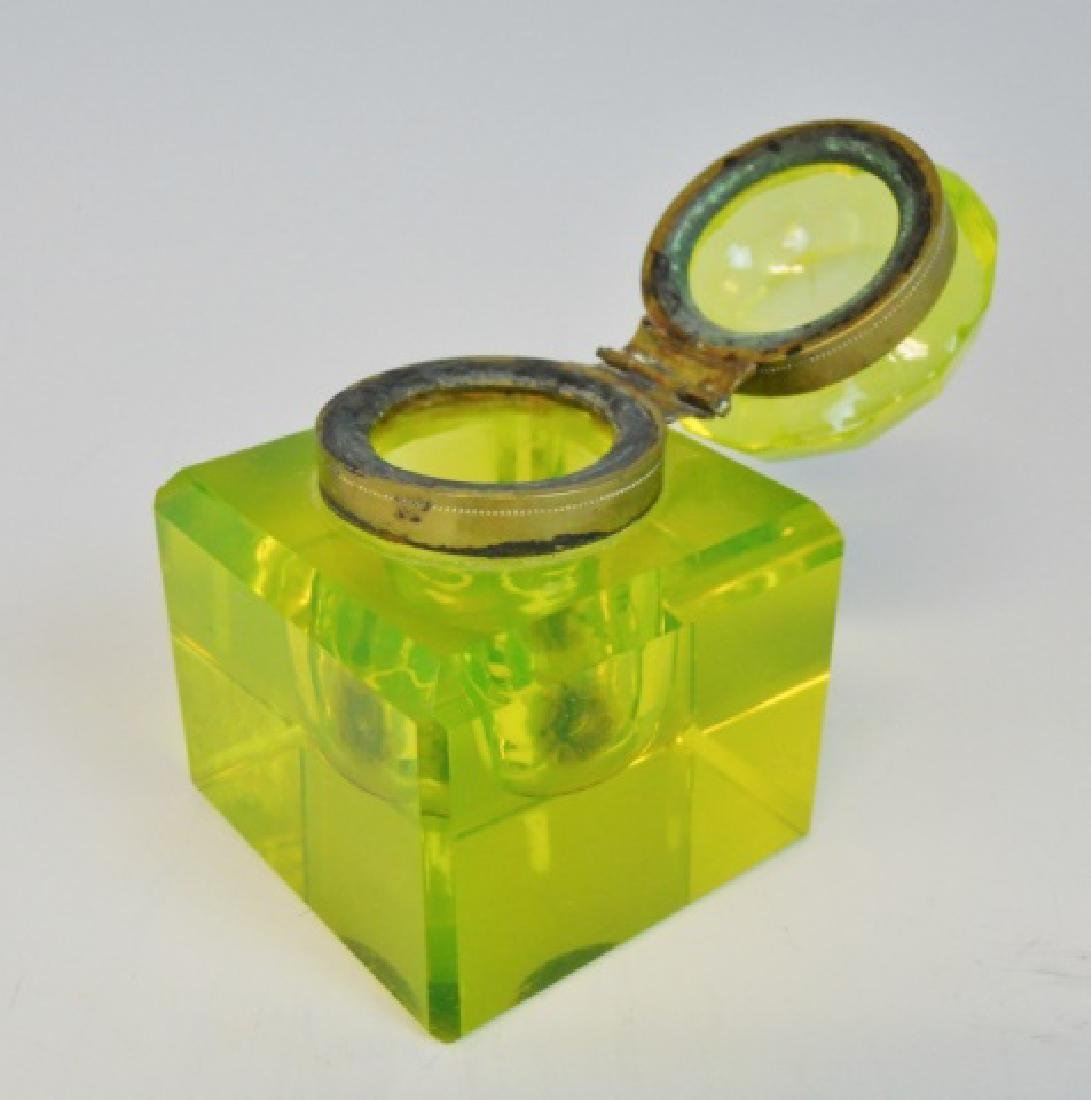 Antique Vaseline Glass Inkwell - 2