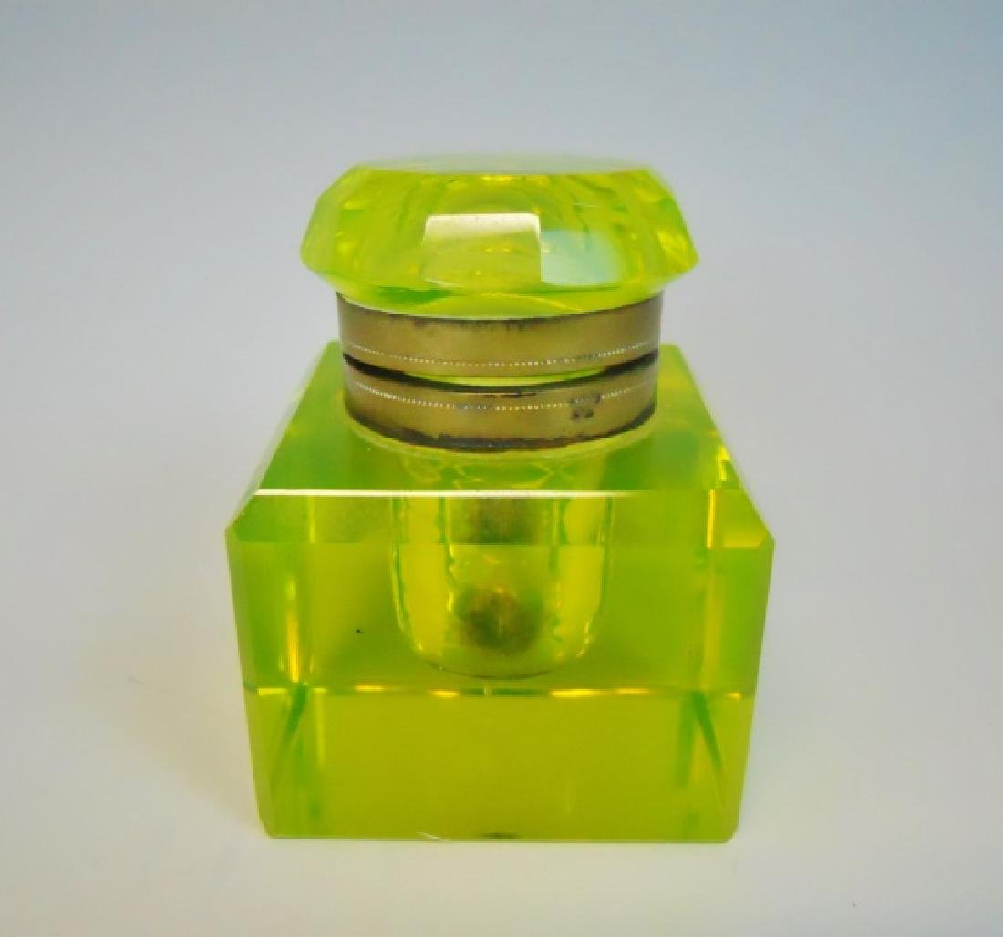Antique Vaseline Glass Inkwell - 3