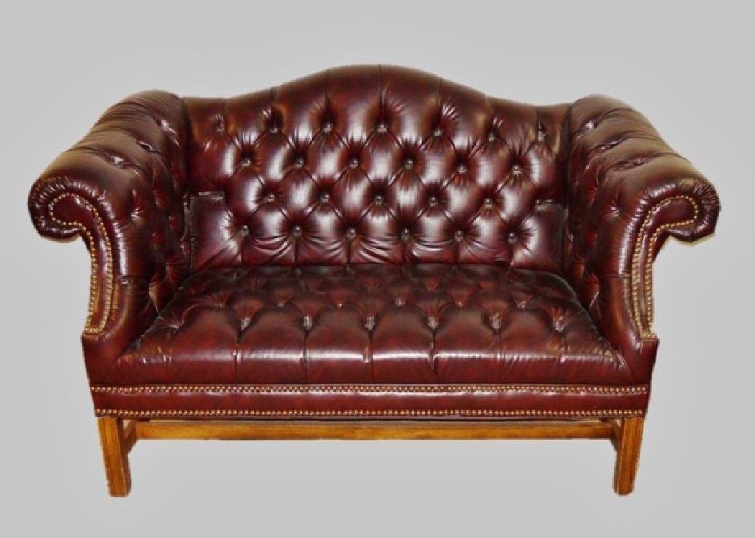 Contemporary Tufted Leather Settle
