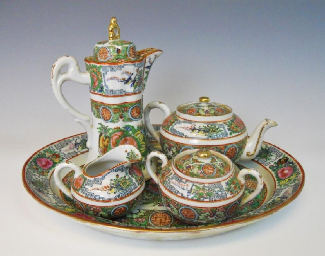19th C. Chinese Rose Medallion Tea Set, (5pc)
