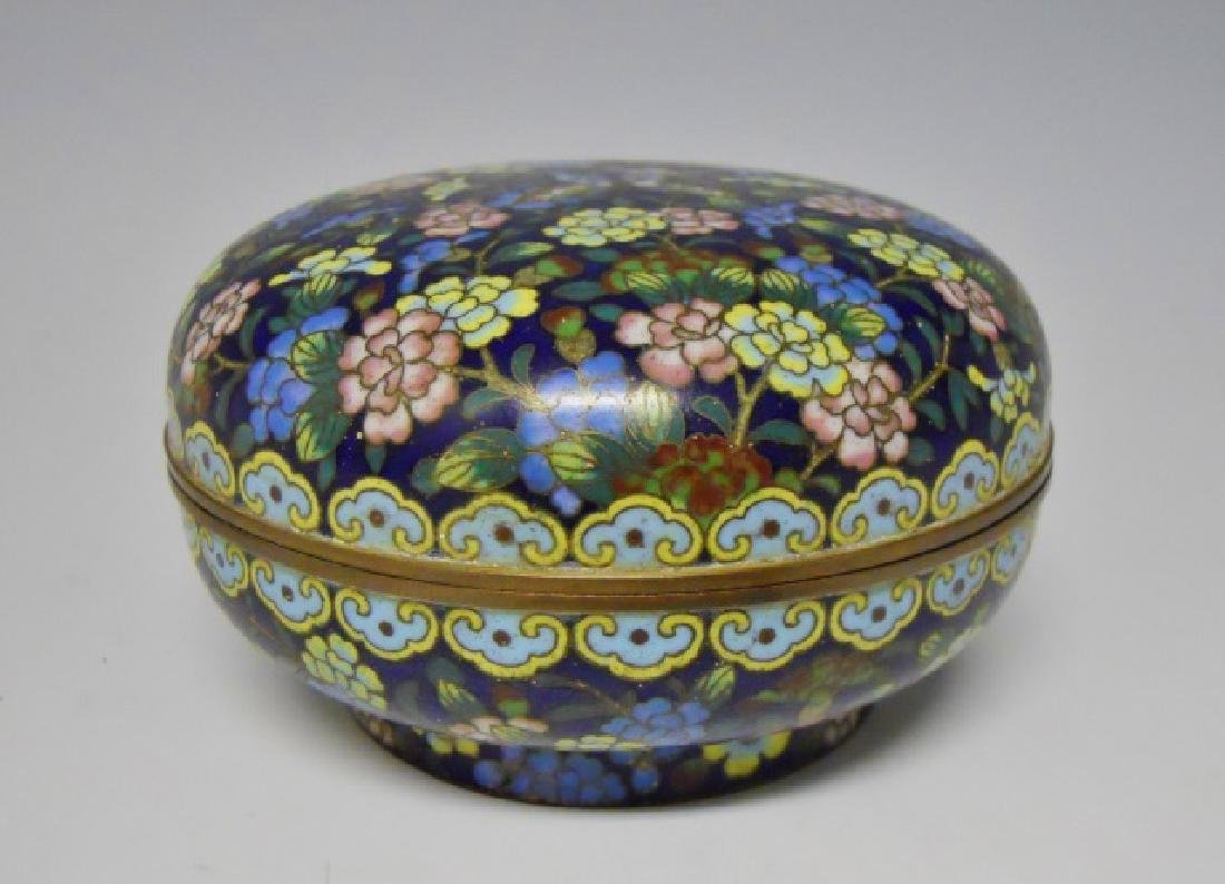 Antique Chinese Cloisonne Round Box