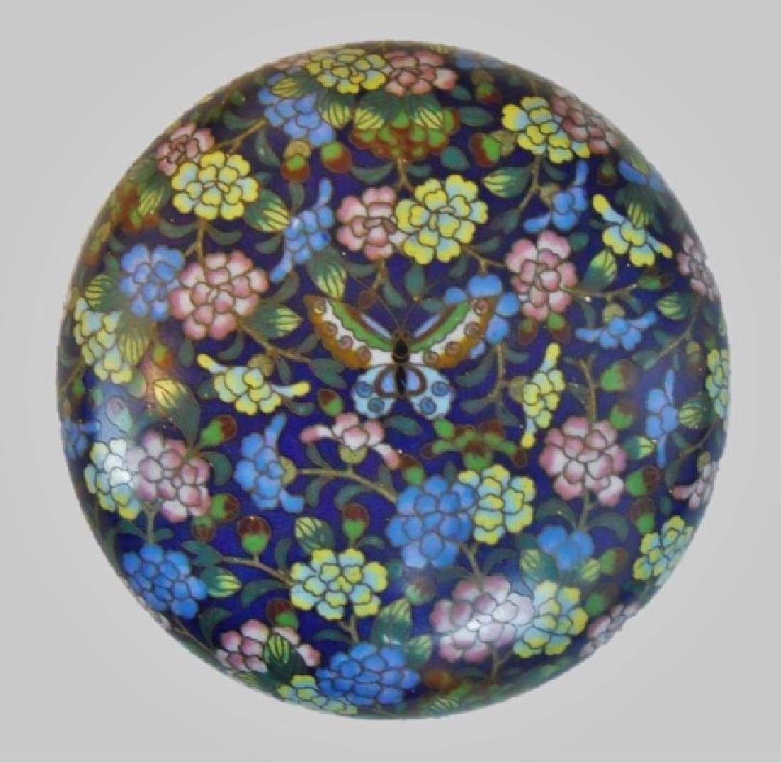 Antique Chinese Cloisonne Round Box - 2