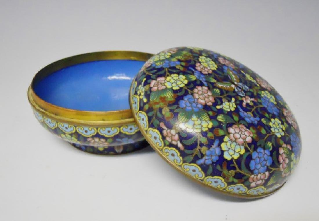 Antique Chinese Cloisonne Round Box - 3