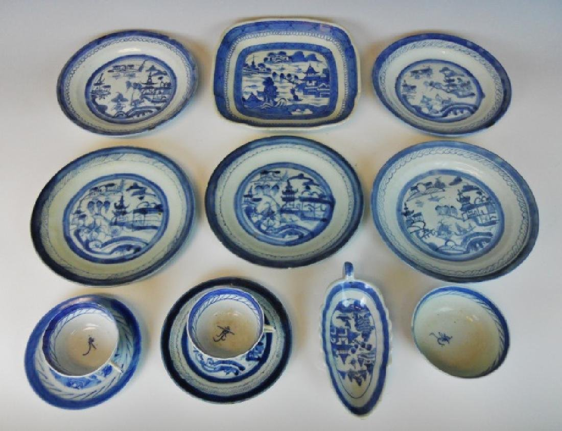 19th C. Chinese Canton Export Blue & White (12pc)