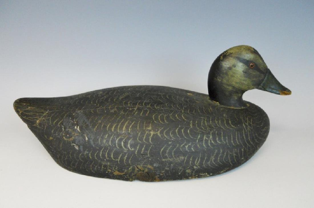 Hand Carved Black Duck Decoy, Gordon Mann