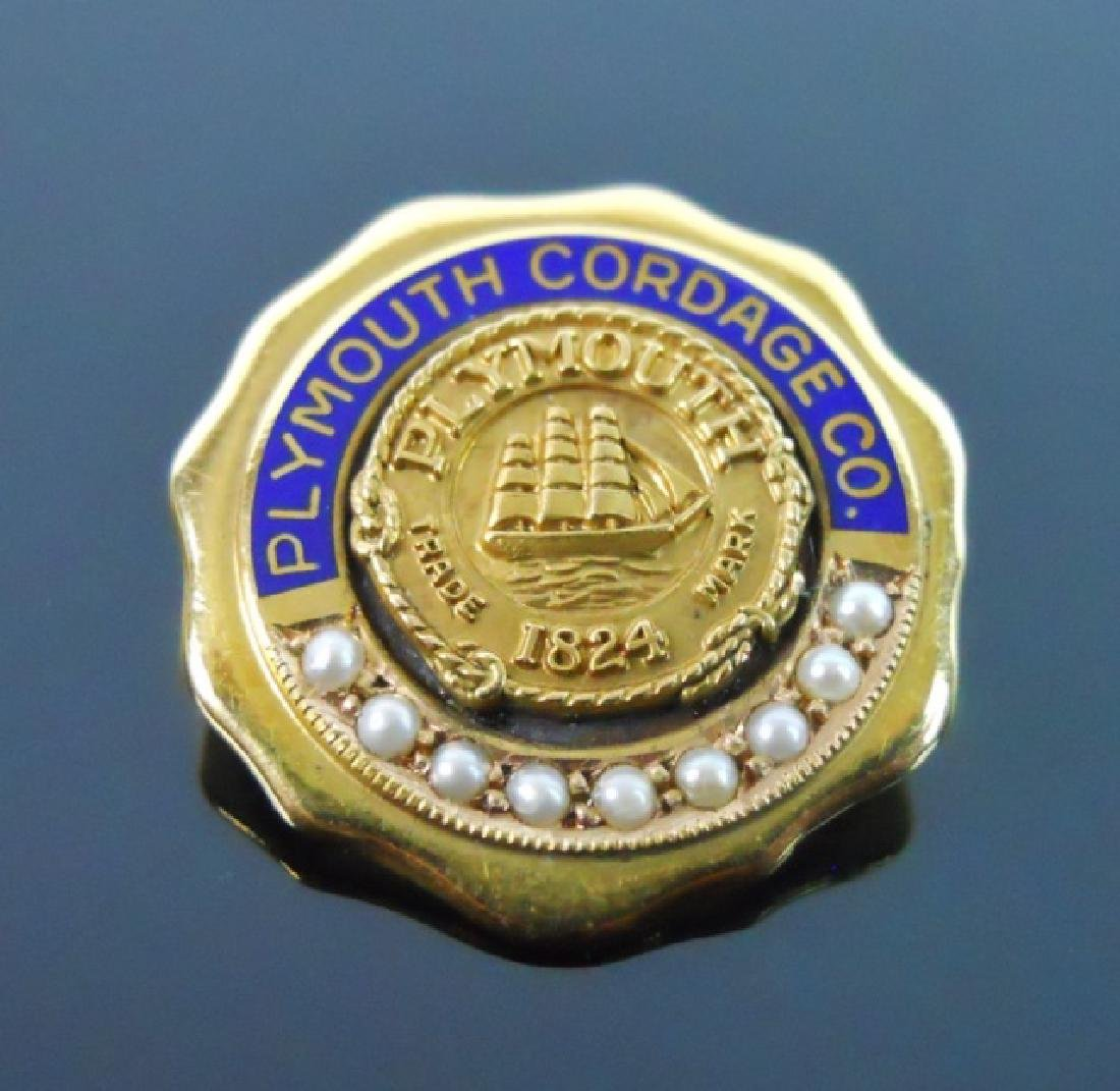 14K Gold Plymouth Cordage Co Pin