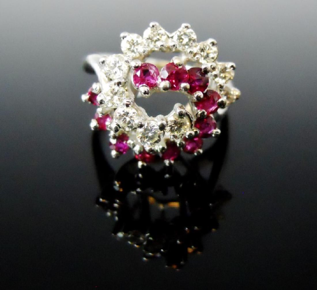Ladies 18K Gold Diamond and Ruby Ring