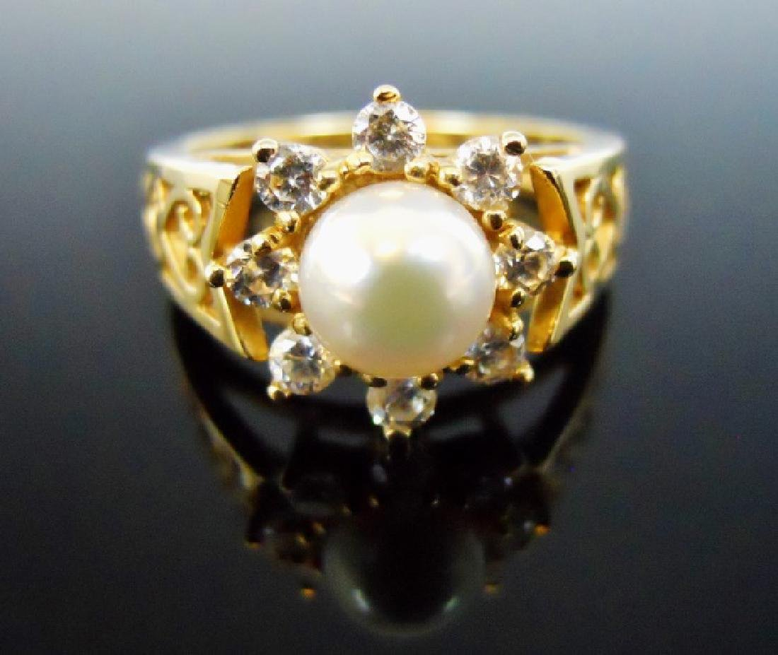 Ladies' 14K Gold Diamond and Pearl Ring