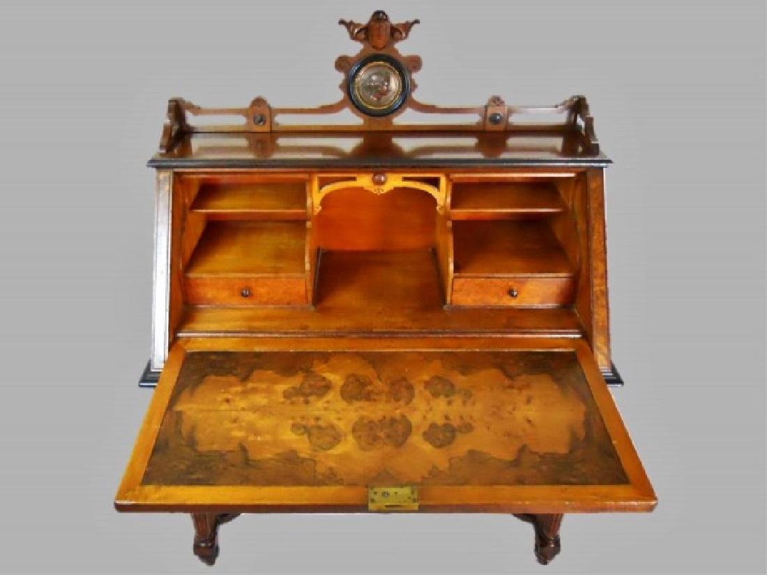 19th C. English East Lake Burl Drop Front Desk - 2