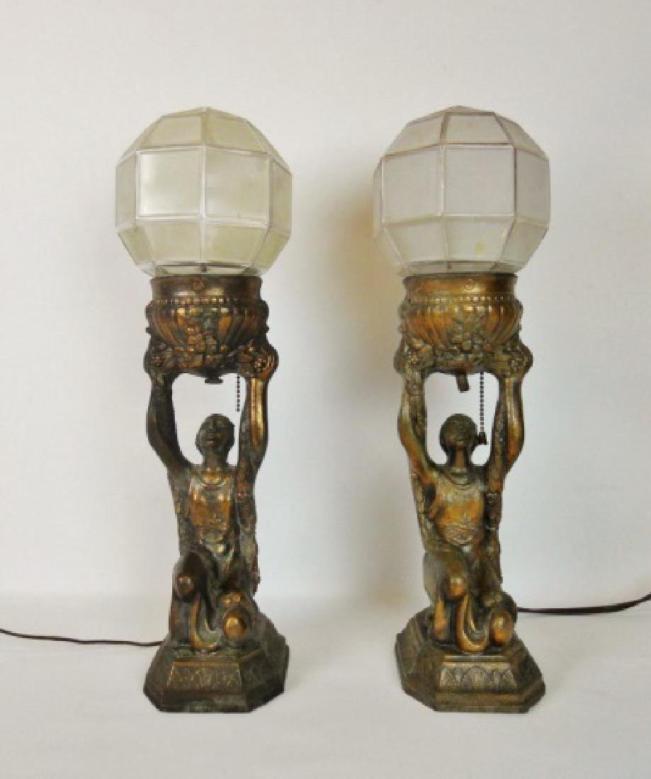 C. 1930 Pair of Art Deco Lamps