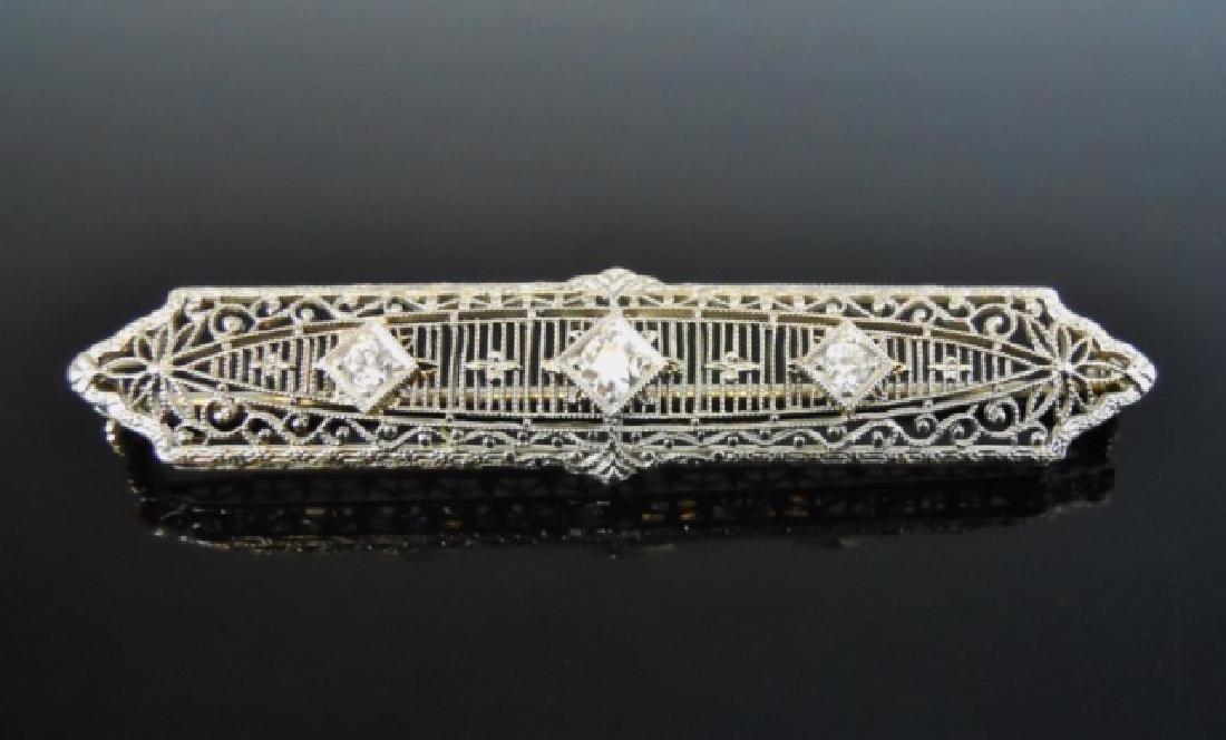 14K Gold Platinum Diamond Bar Pin