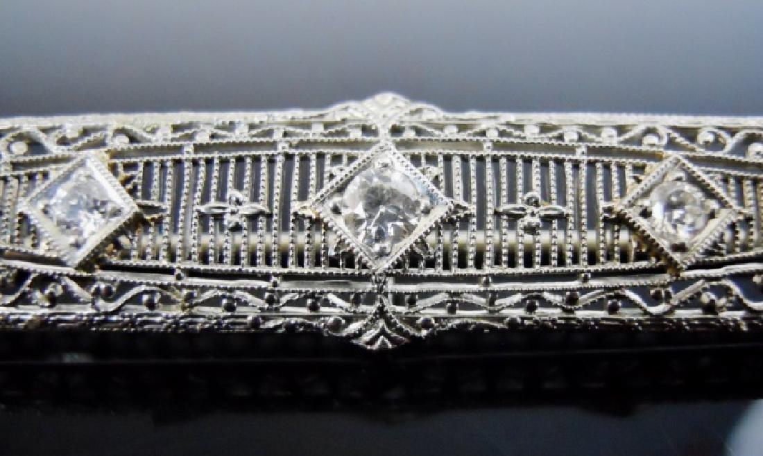 14K Gold Platinum Diamond Bar Pin - 2