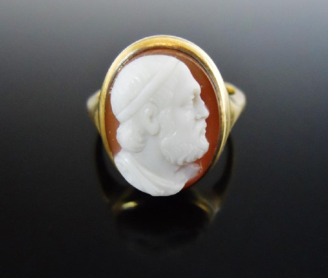 14K Gold Carved Shell Cameo Ring