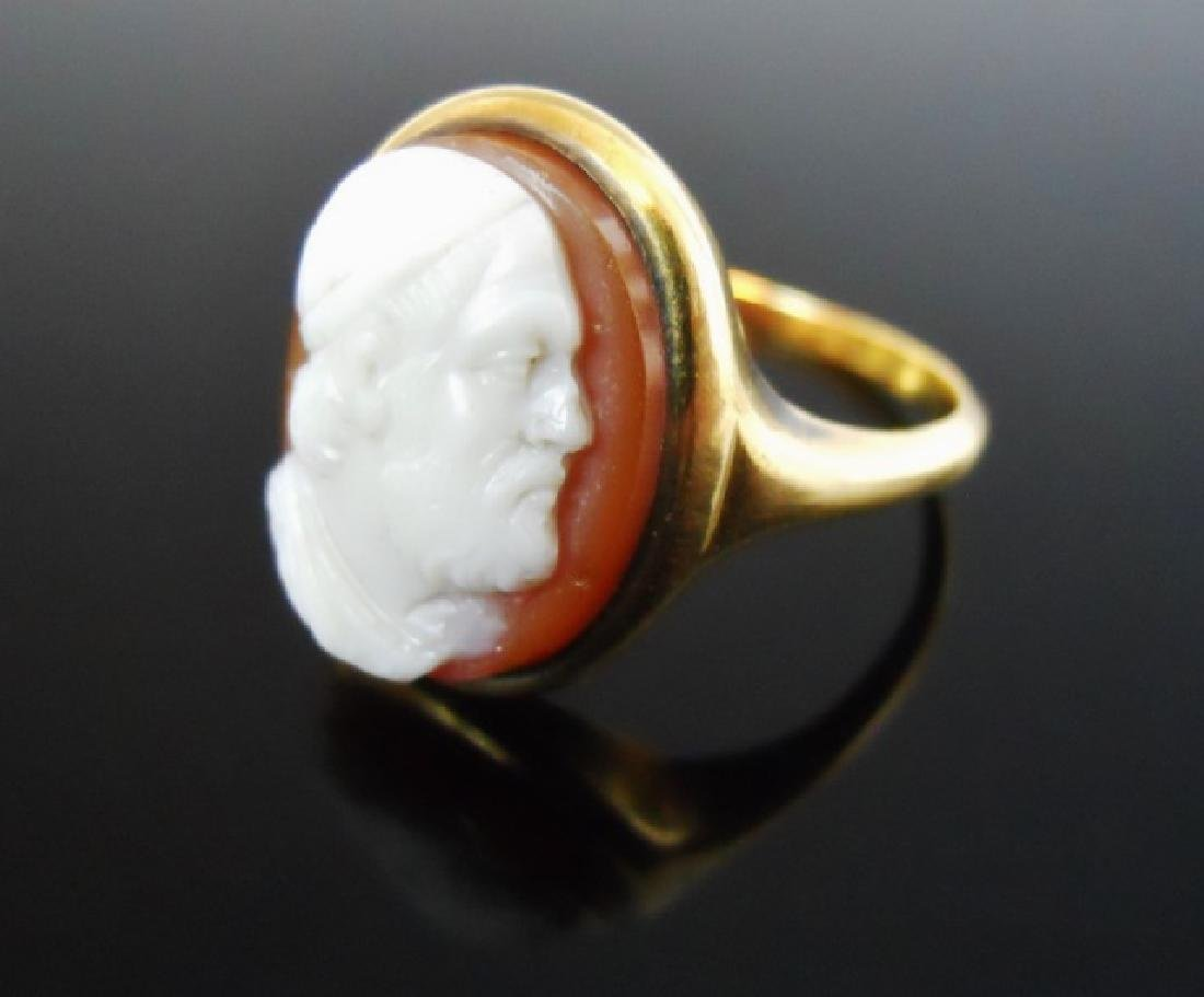14K Gold Carved Shell Cameo Ring - 2
