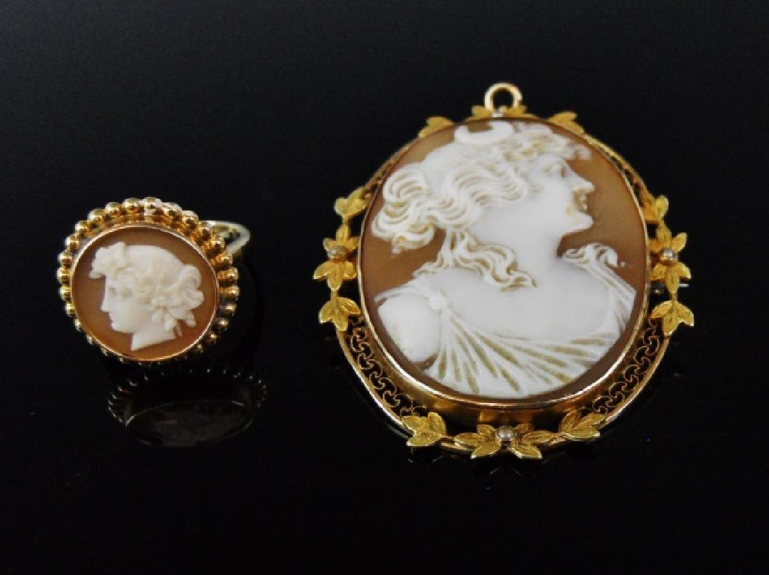 Cameo Brooch, Cameo Ring, 10K Gold, (2pc)