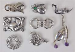 Collection of Sterling Silver Brooches 8pc