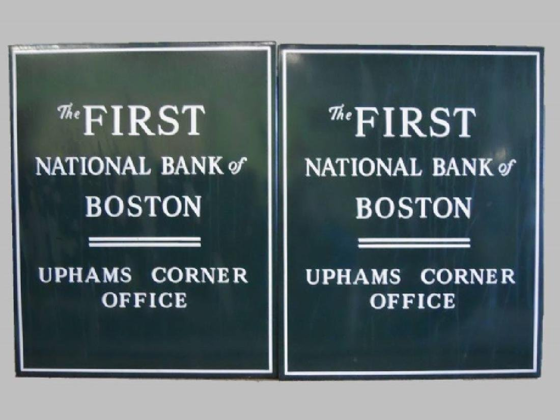 Porcelain Signs First National Bank Boston, (2pc)
