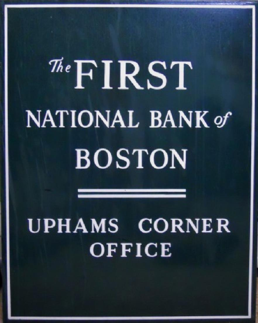 Porcelain Signs First National Bank Boston, (2pc) - 2