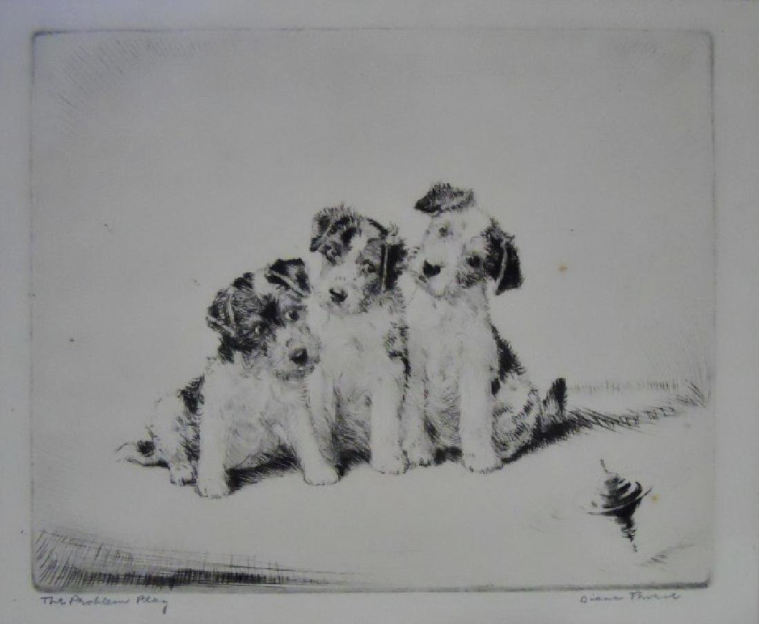 "Etching ""Problem Play"", Diana Thorne, (1894-1963)"