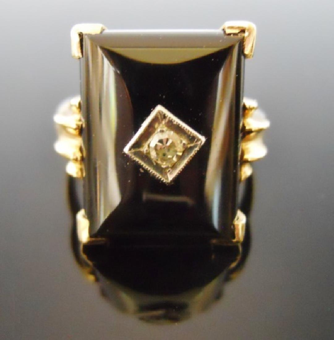 10K Onyx and Diamond Ring