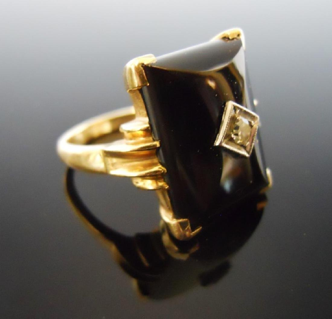 10K Onyx and Diamond Ring - 2