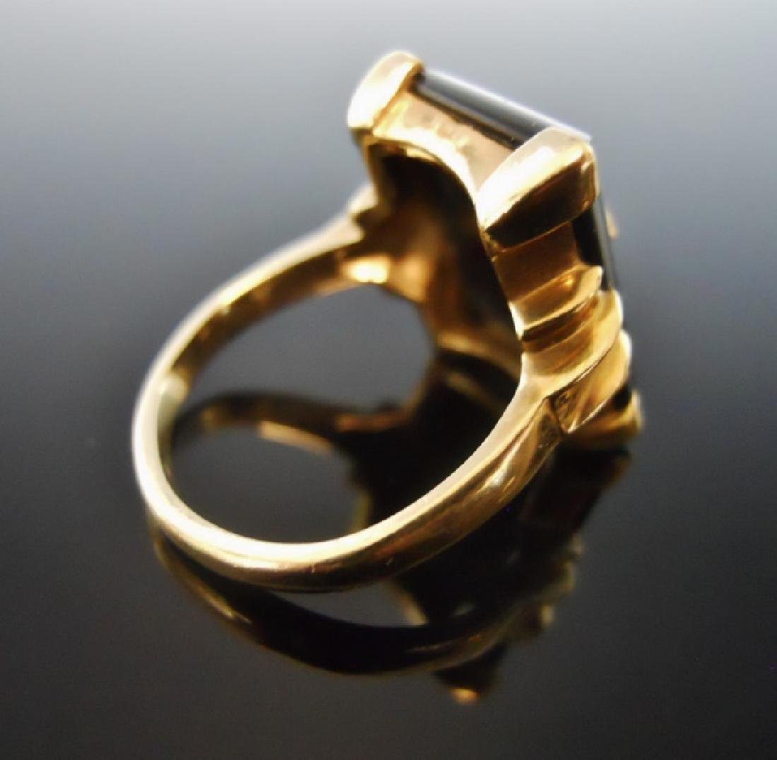 10K Onyx and Diamond Ring - 3