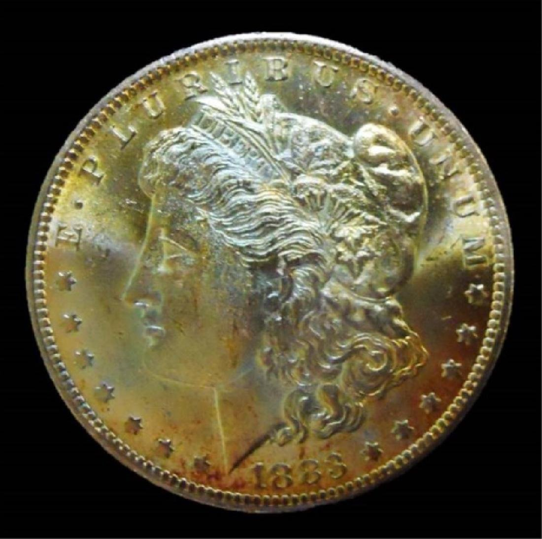 US Morgan Silver Dollars, Rainbow Tone, (2pc) - 3
