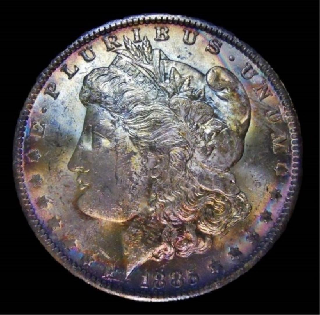 US Morgan Silver Dollars, Rainbow Tone, (2pc) - 5