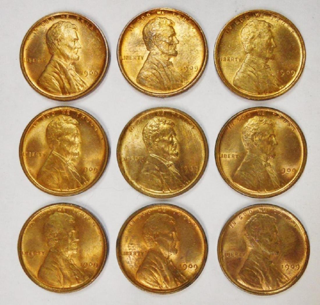 1909 VBD Lincoln Cents, Red BU, (9pc)