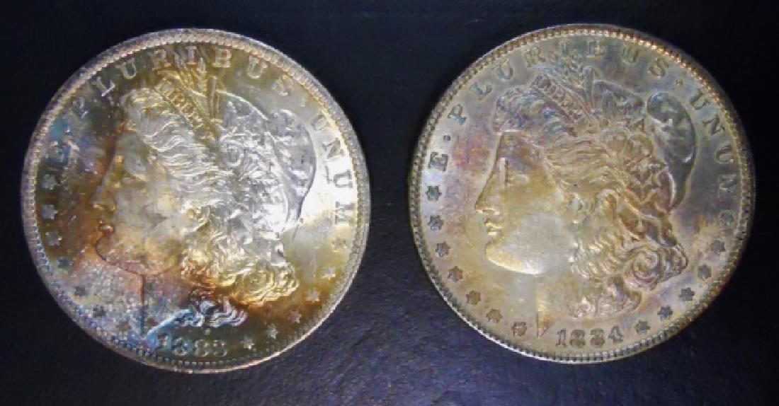 US Morgan Silver Dollars, Rainbow Tone, (2pc)