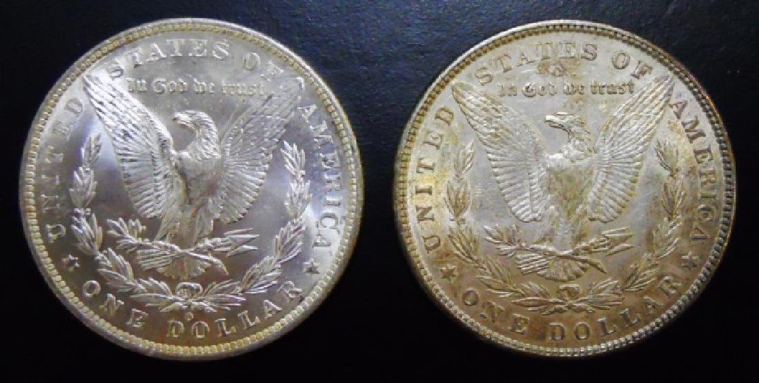 US Morgan Silver Dollars, Rainbow Tone, (2pc) - 2