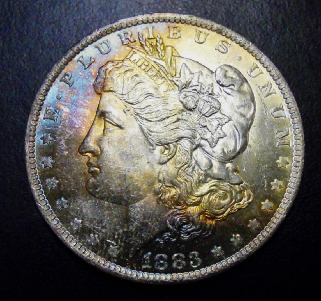 US Morgan Silver Dollars, Rainbow Tone, (2pc) - 4