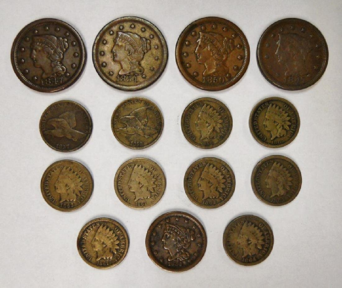 Collection US Copper Pennies, Large Cents, (15pc)