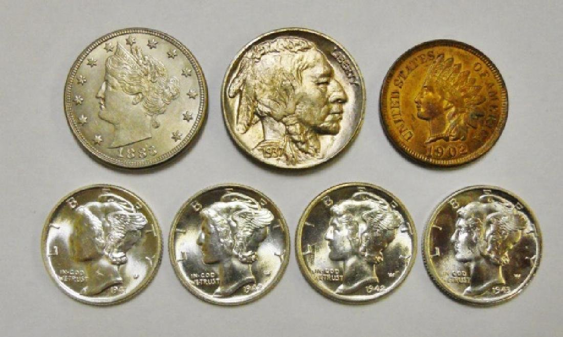 Collection, US Type Coins, Uncirculated, (7pc)
