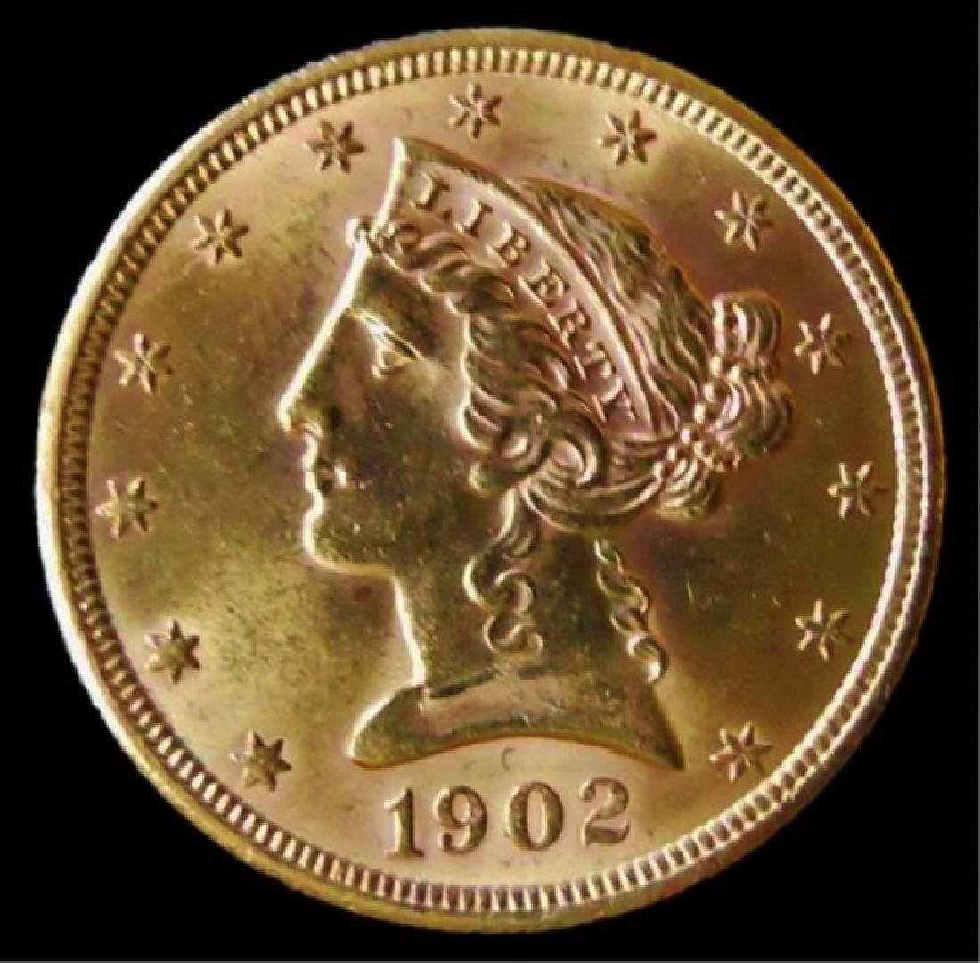 1902-S US Liberty $5.00 Half Eagle Gold Coin, BU