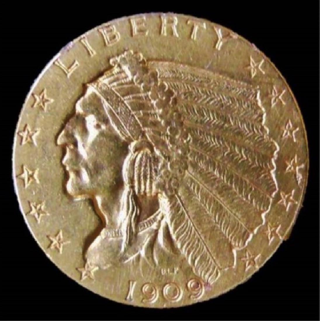 1909 US $2.50 Gold Indian Quarter Eagle, AU