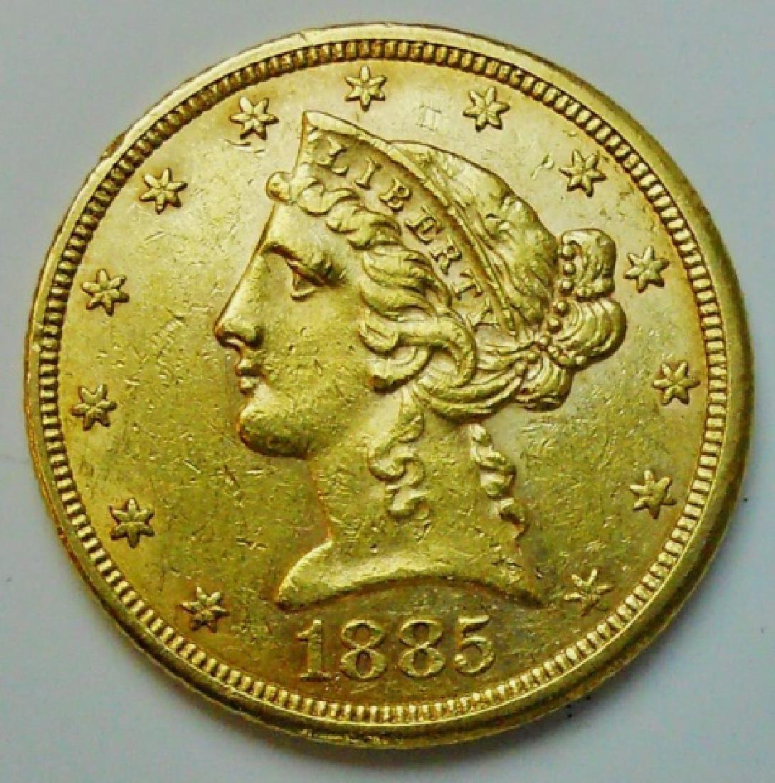 1885 US Liberty $5.00 Half Eagle Gold Coin, AU