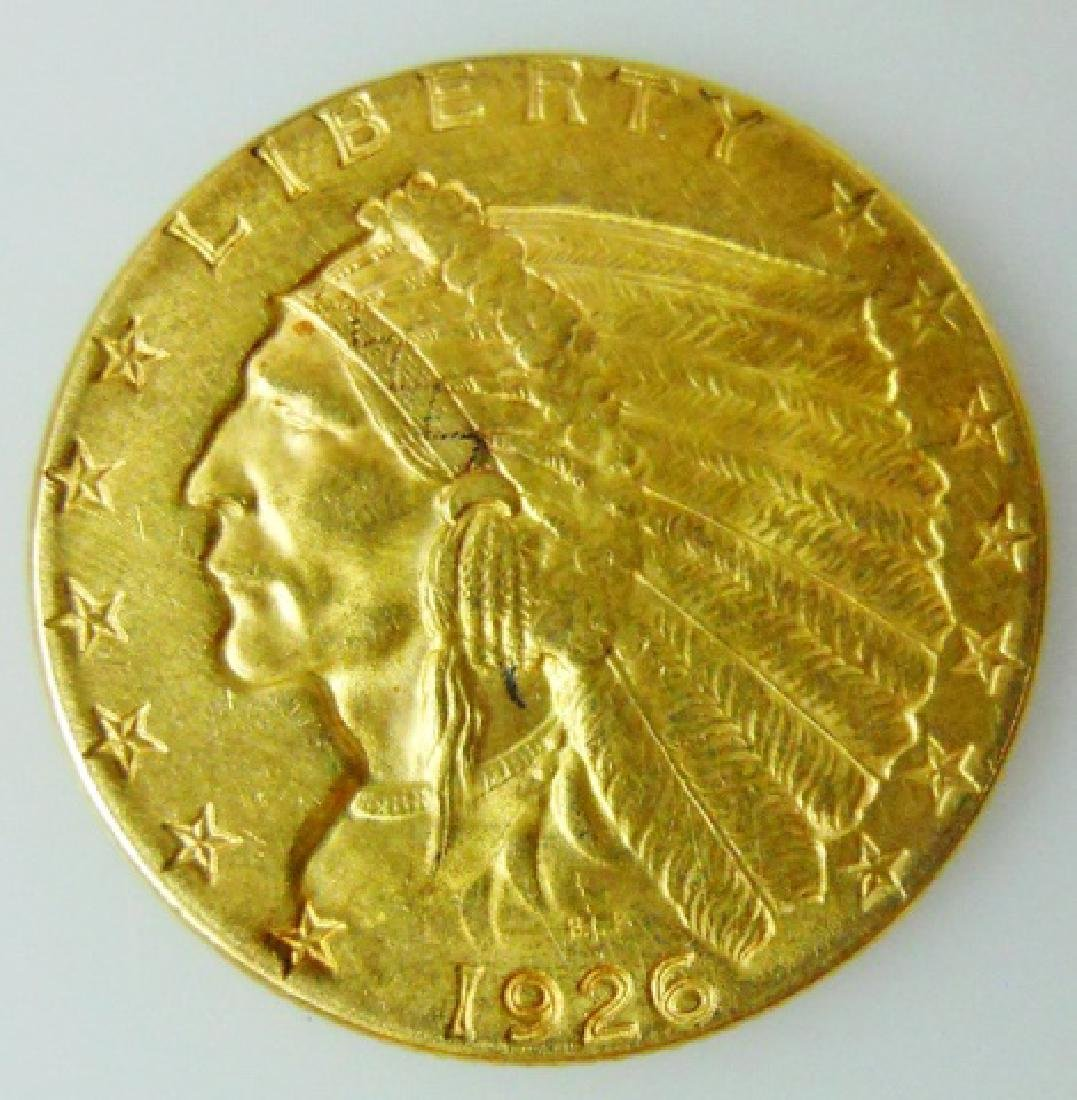 1926 US $2.50 Gold Indian Quarter Eagle, AU