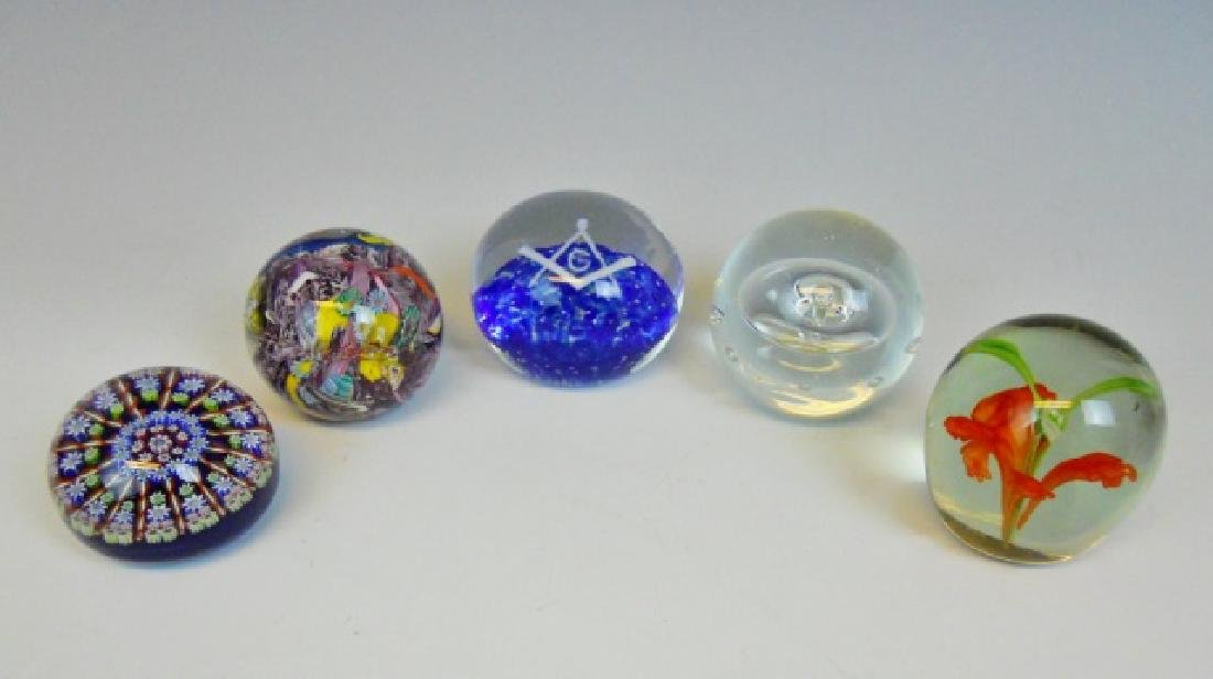 Hand Blown Glass Paperweights, (5pc)
