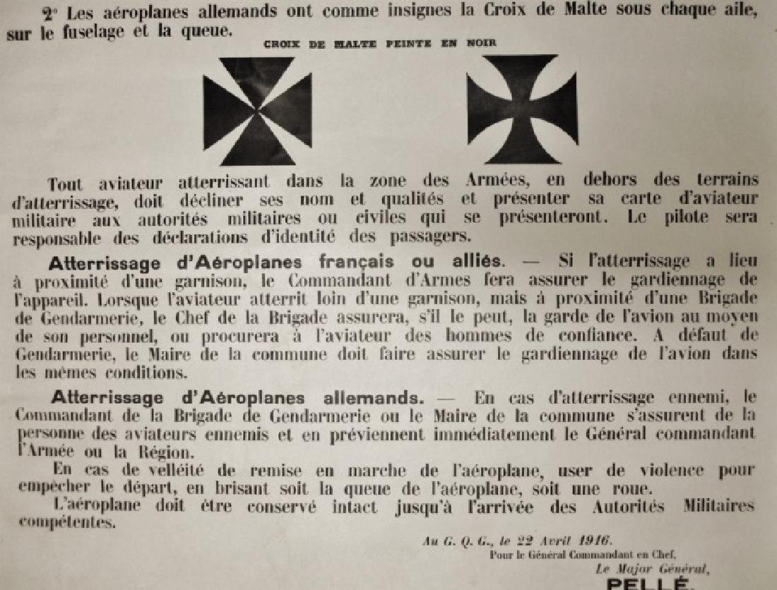 WW1 French Military Airplane ID Poster, 1916 PELLE - 3