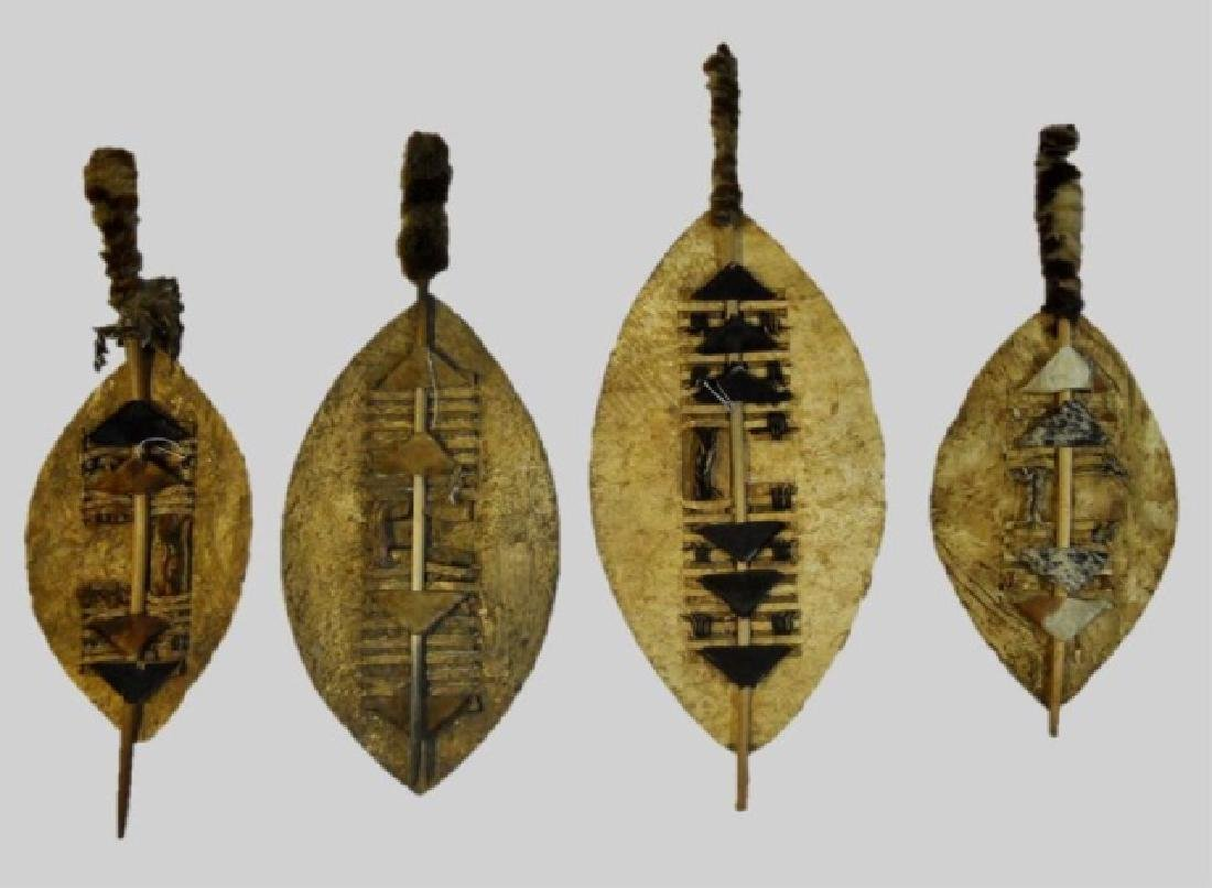 Collection of African Zulu Nguni Shields (4pc) - 2