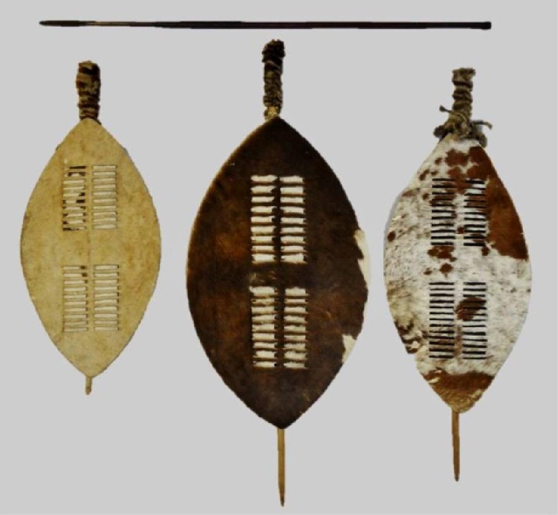 African Zulu Nguni Shields and Spear, (4pc)