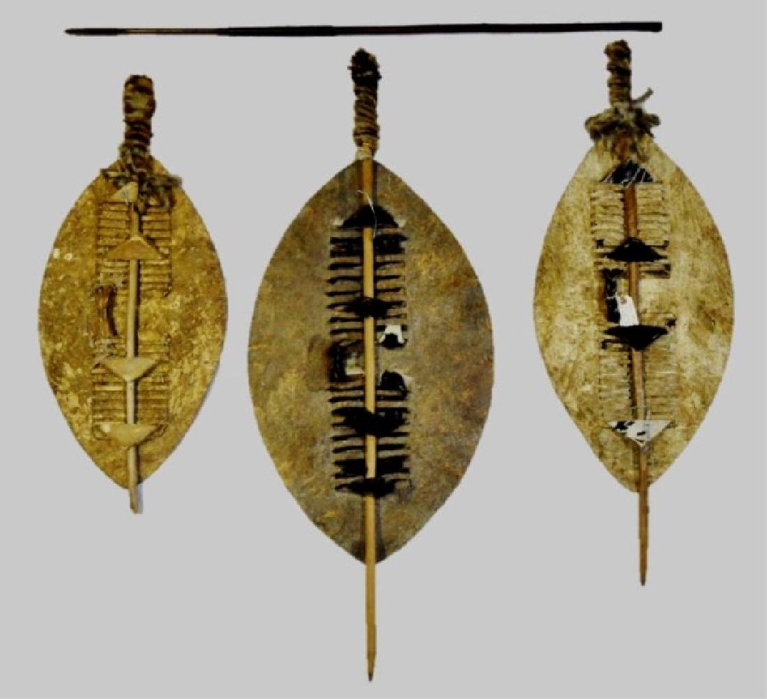 African Zulu Nguni Shields and Spear, (4pc) - 2