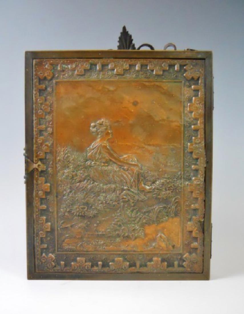 19th C. Copper Tri-Fold Eglomise Vanity Mirror