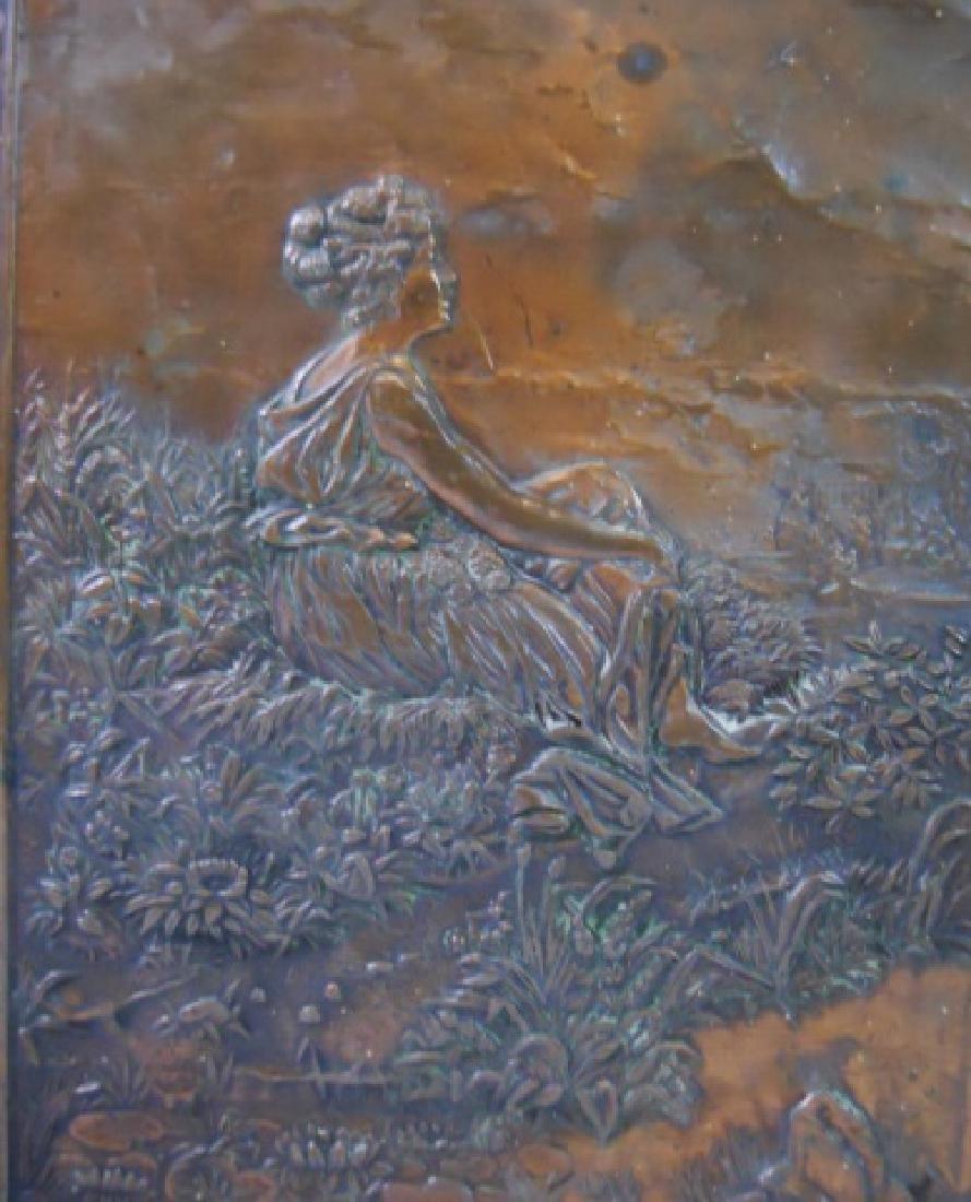 19th C. Copper Tri-Fold Eglomise Vanity Mirror - 2