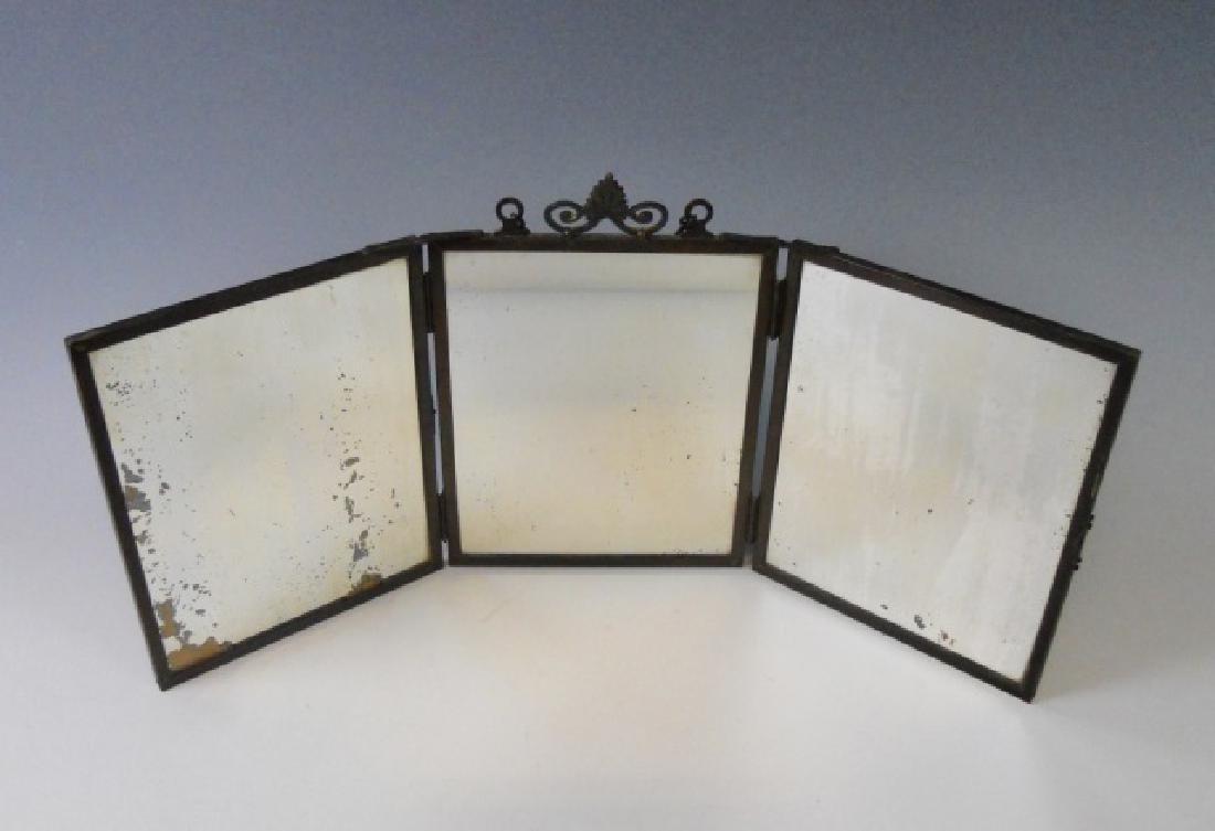 19th C. Copper Tri-Fold Eglomise Vanity Mirror - 3