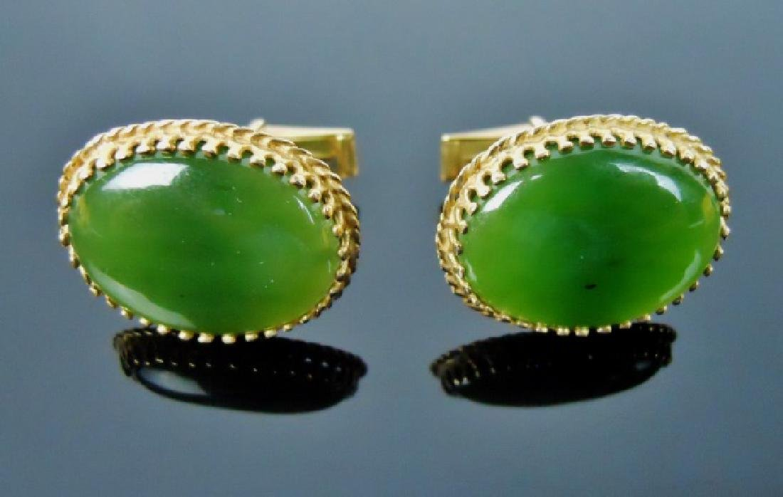 Pair of 14K  Gold and Jade Cufflinks, (2pc)