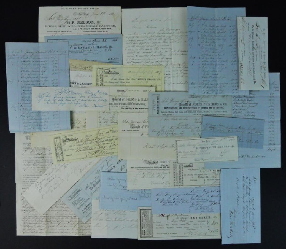 19th C. Delano Ships' Papers (65pc)
