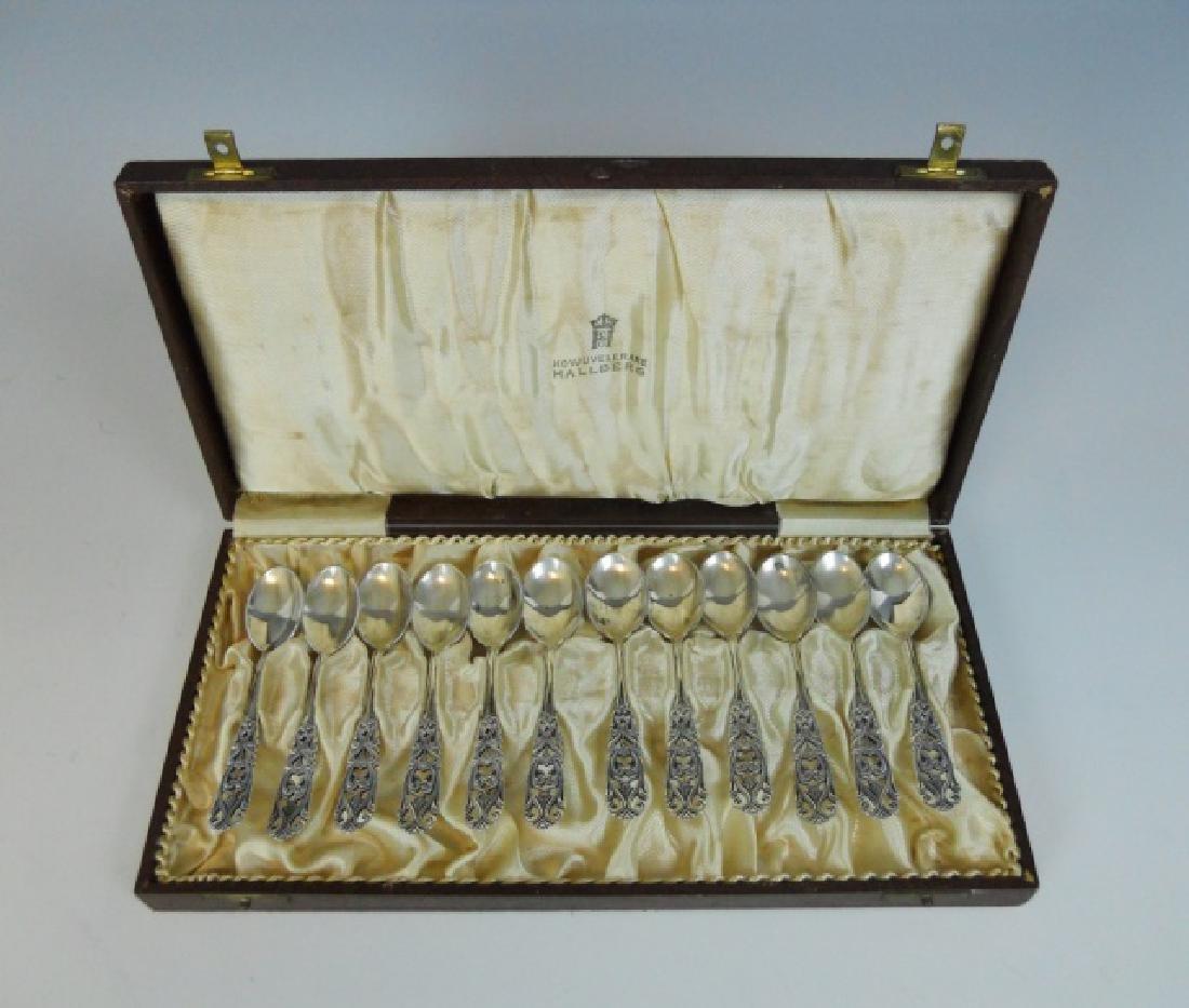 Set Swedish .830 Demitasse Spoons, HALLBERG (12pc)